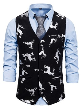 Ericdress V-Neck Button Color Block Single-Breasted Casual Men's Waistcoat