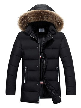 Ericdress Hooded Color Block Mid-Length Casual Men's Down Jacket