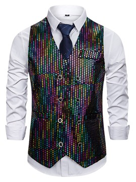Ericdress Color Block V-Neck Sequins Casual Men's Waistcoat