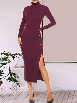 Ericdress Turtleneck Mid-Calf Button Fashion Pullover Dress