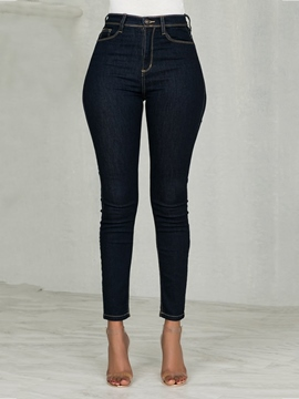 Ericdress Plain Pencil Pants High Waist Zipper Jeans