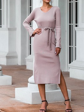 Ericdress V-Neck Long Sleeve Mid-Calf Spring Casual Dress