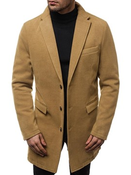 Ericdress Mid-Length Button Plain A Line Men's Coat