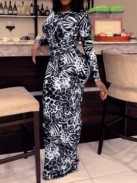 Ericdress Floor-Length Print Long Sleeve Party/Cocktail Regular Dress