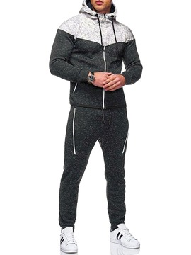 Ericdress Color Block Sports Zipper Men's Outfit