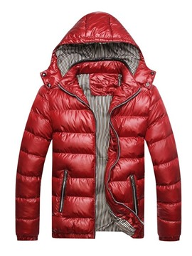 Ericdress Color Block Standard Hooded European Zipper Men's Down Jacket