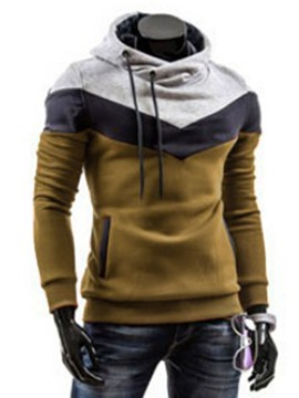 Ericdress Patchwork Color Block Slim Fit Men's Hoodie