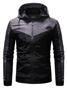 Ericdress Color Block Hooded Thick Zipper Casual Men's Jacket