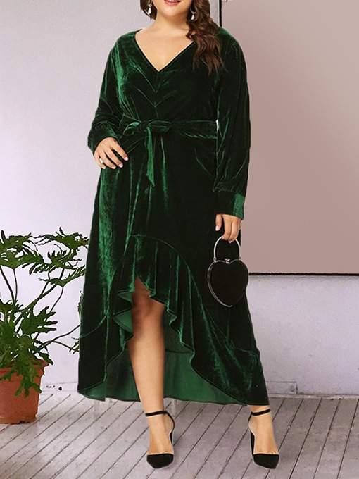 Ericdress Plus Size Asymmetric Long Sleeve V-Neck Regular Plain Dress