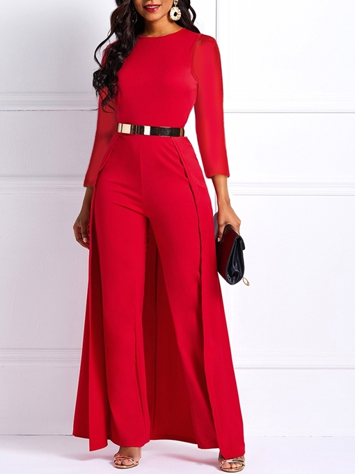Ericdress Office Lady Swallowtail Full Length High Waist Slim Jumpsuit