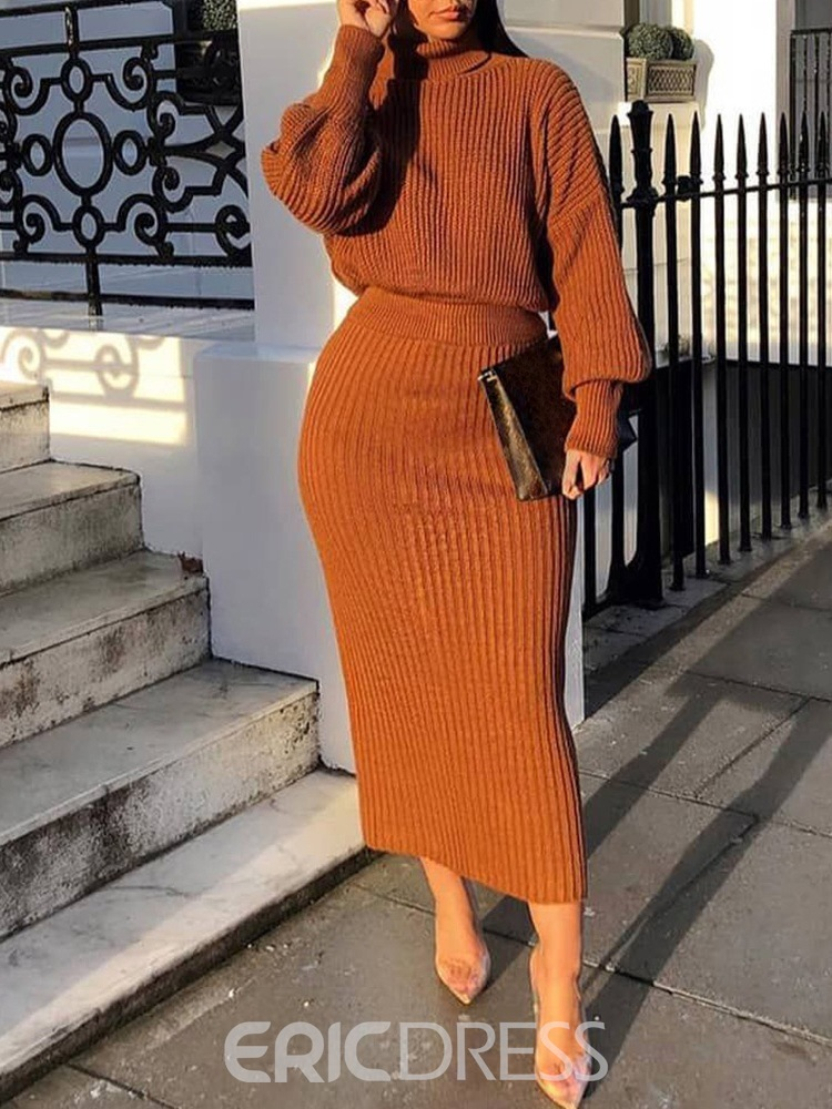 Ericdress Casual Plain Pullover Turtleneck Two Piece Sets