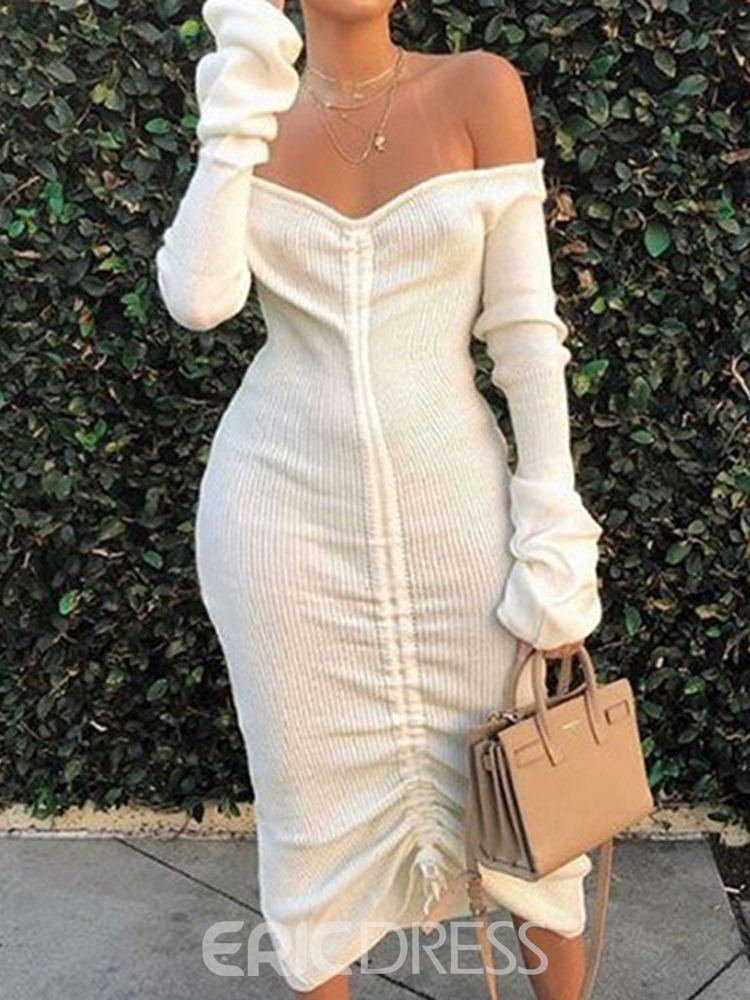 Ericdress Off Shoulder Pleated Mid-Calf Date Night/Going Out Plain Dress