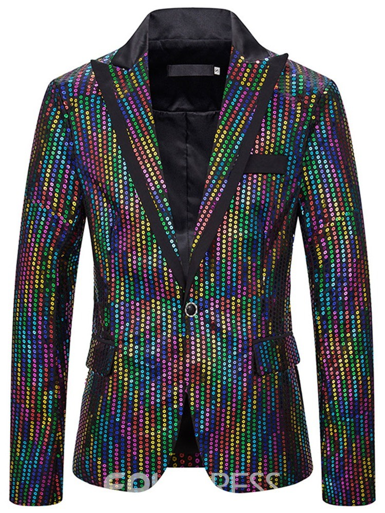 Ericdress Notched Lapel Casual Sequins Men's Leisure Blazers