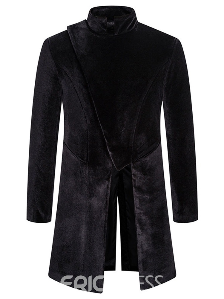 Ericdress Plain Stand Collar Long Korean Loose Men's Trench Coat