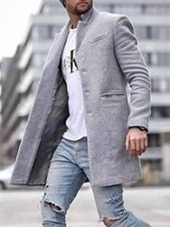 ericdress / Ericdress Pocket Mid-Length Plain Straight Mens Coat