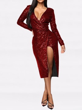 Ericdress Sequins V-Neck Mid-Calf Mid Waist Winter Dress