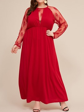Ericdress Round Neck Long Sleeve See-Through High Waist Plus Size Dress