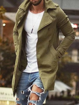 Ericdress Pocket Mid-Length Plain Fashion Loose Men's Trench Coat