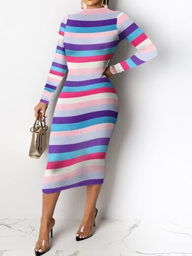 Ericdress Mid-Calf Long Sleeve Print Mid Waist Pullover Dress