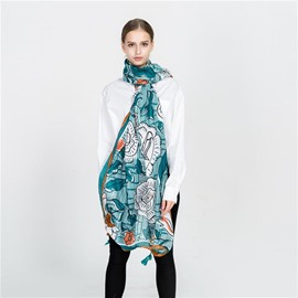Ericdress Print Floral Rectangle Scarves
