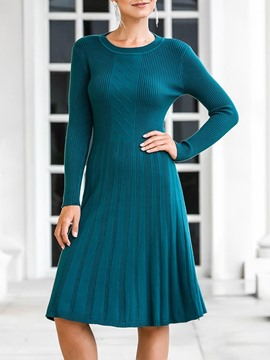 Ericdress Knee-Length Long Sleeve Round Neck Regular Pullover Dress