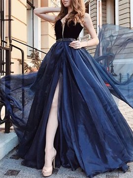 Ericdress A-Line Straps Split-Front Beading Prom Dress