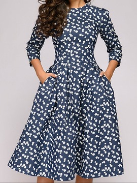 Ericdress Mid-Calf Three-Quarter Sleeve Print Vintage Pullover Dress