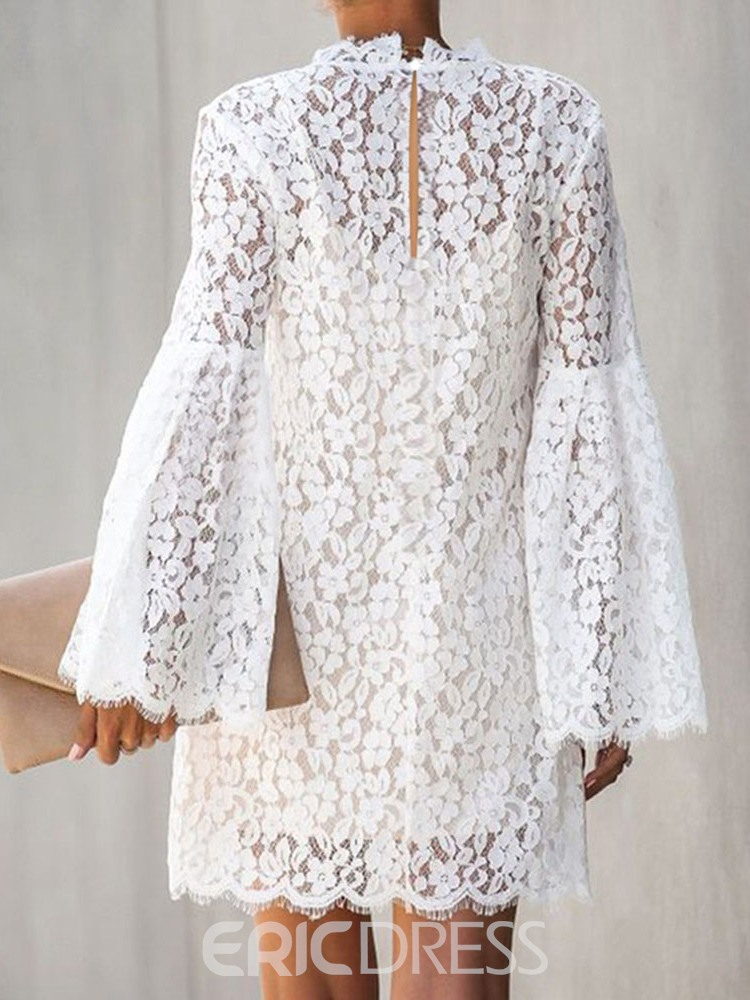 Ericdress Long Sleeve Stand Collar Lace Floral Sweet Dress