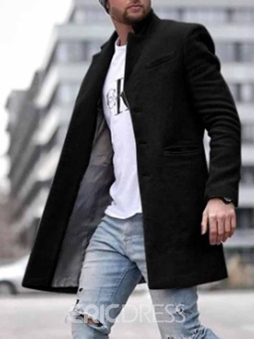 Ericdress Pocket Mid-Length Plain Straight Men's Coat