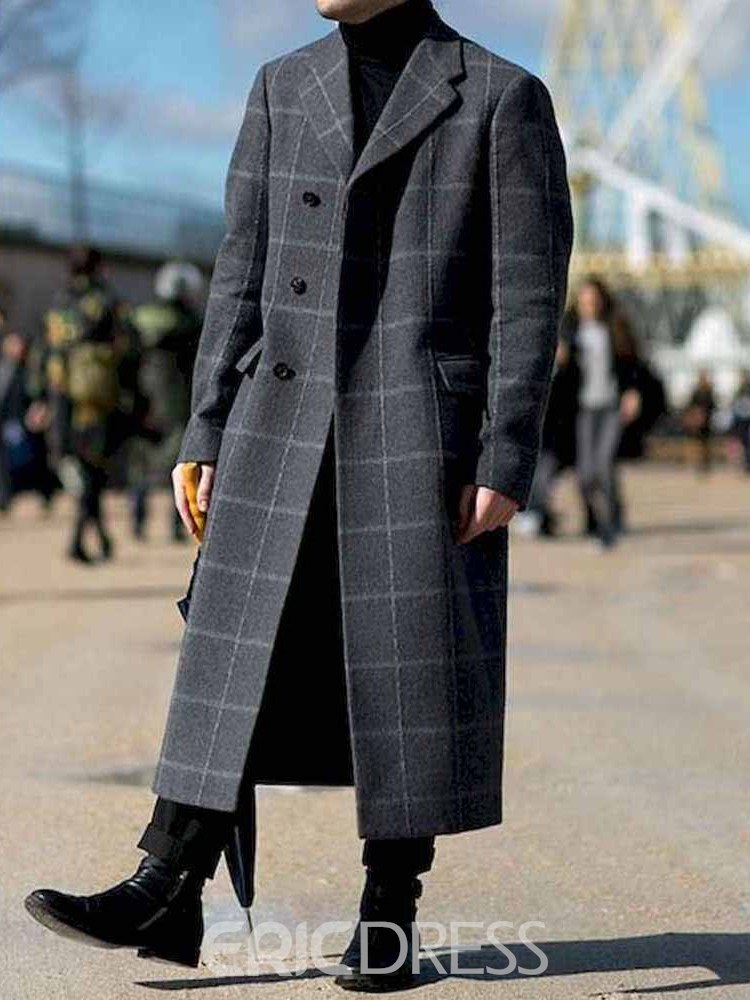 Ericdress Color Block Notched Lapel Single-Breasted Fashion Men's Coat