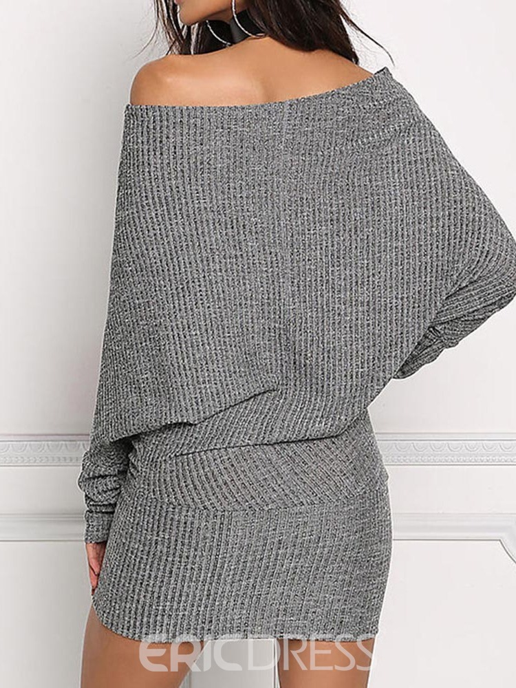 Ericdress Above Knee Long Sleeve Off Shoulder Fall Bodycon Dress