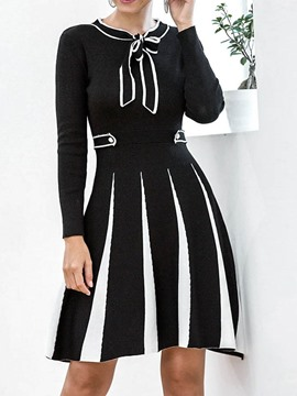 Ericdress Print Long Sleeve Bow Collar Stripe Regular Dress