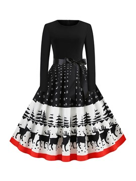 Ericdress Christmas Long Sleeve Print Round Neck Mid Waist Cartoon Dress
