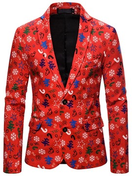 Ericdress Button Slim Notched Lapel Christmas Men's Leisure Blazers