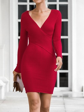 Ericdress Above Knee Long Sleeve V-Neck Pullover Regular Dress
