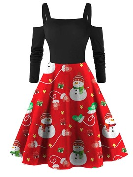 Ericdress Christmas Patchwork Knee-Length Nine Points Sleeve Spaghetti Strap Regular Dress
