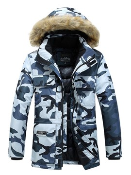Ericdress Mid-Length Hooded Print European Zipper Men's Down Jacket