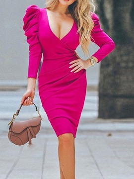 Ericdress Knee-Length V-Neck Three-Quarter Sleeve Summer Sexy Dress