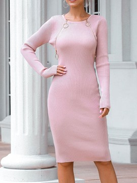 Ericdress Round Neck Long Sleeve Knee-Length Pullover Fall Dress