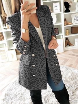 Ericdress Color Block Double-Breasted Mid-Length Casual Women's Blazer