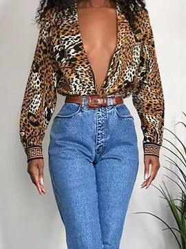 Ericdress Print Regular Leopard Mid-Length Long Sleeve Blouse