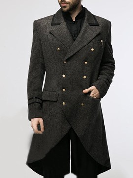 Ericdress Plain Mid-Length Pocket A Line Casual Men's Coat