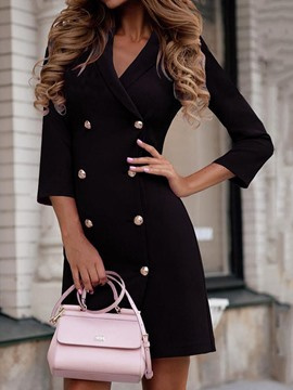Ericdress Above Knee Notched Lapel Three-Quarter Sleeve Mid Waist Wear to Work/Workwear Dress