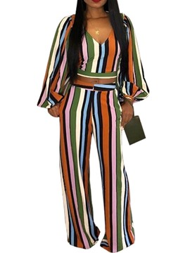 Ericdress Casual Stripe Wide Legs Pullover Two Piece Sets