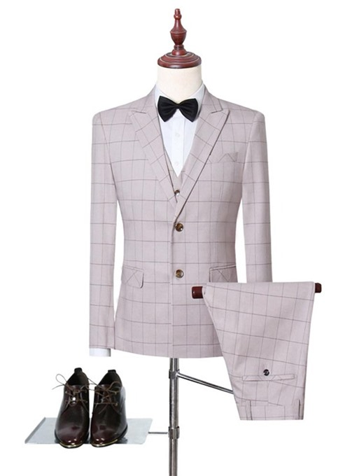 Ericdress Casual Plaid Single-Breasted Men's Dress Suit