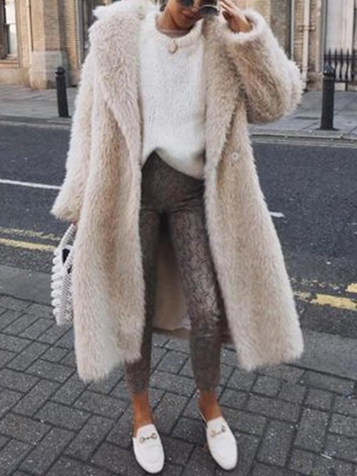Ericdress Plain Long Loose Faux Fur Women's Overcoat