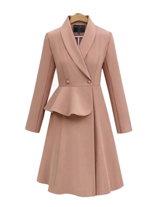 Ericdress Double-Breasted Slim Notched Lapel Women's Overcoat