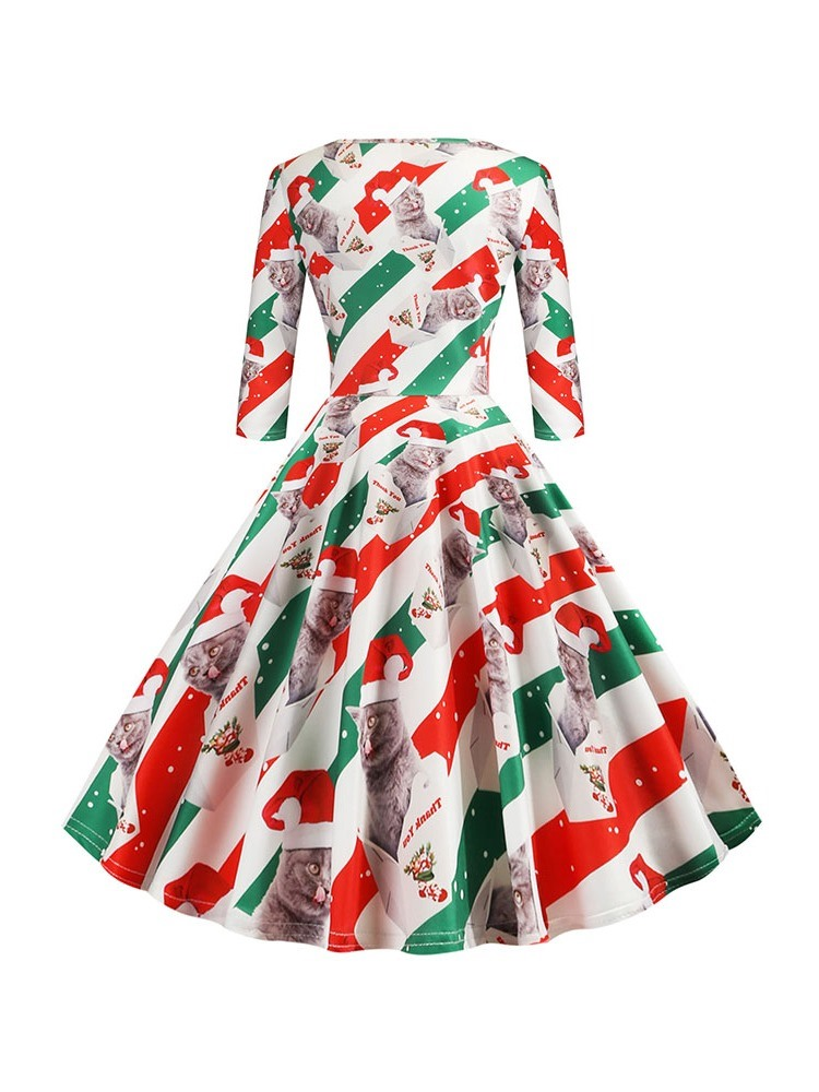 Ericdress Christmas Print Three-Quarter Sleeve Round Neck Party/Cocktail Animal Dress
