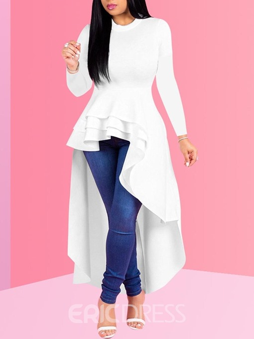 Ericdress Long Round Neck Nine Points Sleeve Casual Women's Shirt