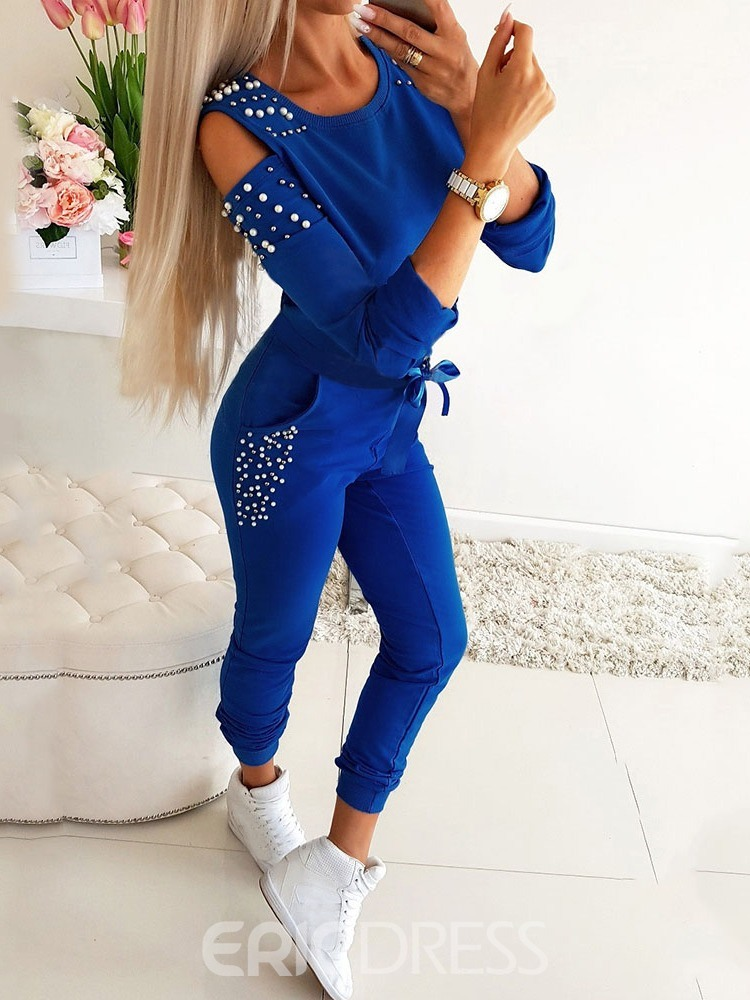 Ericdress Casual Bead T-Shirt and Pencil Pants Round Neck Two Piece Sets